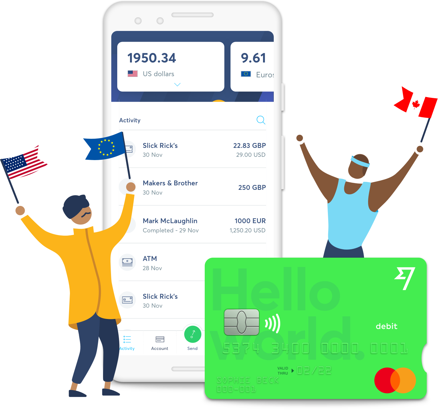 Borderless account with TransferWise debit card