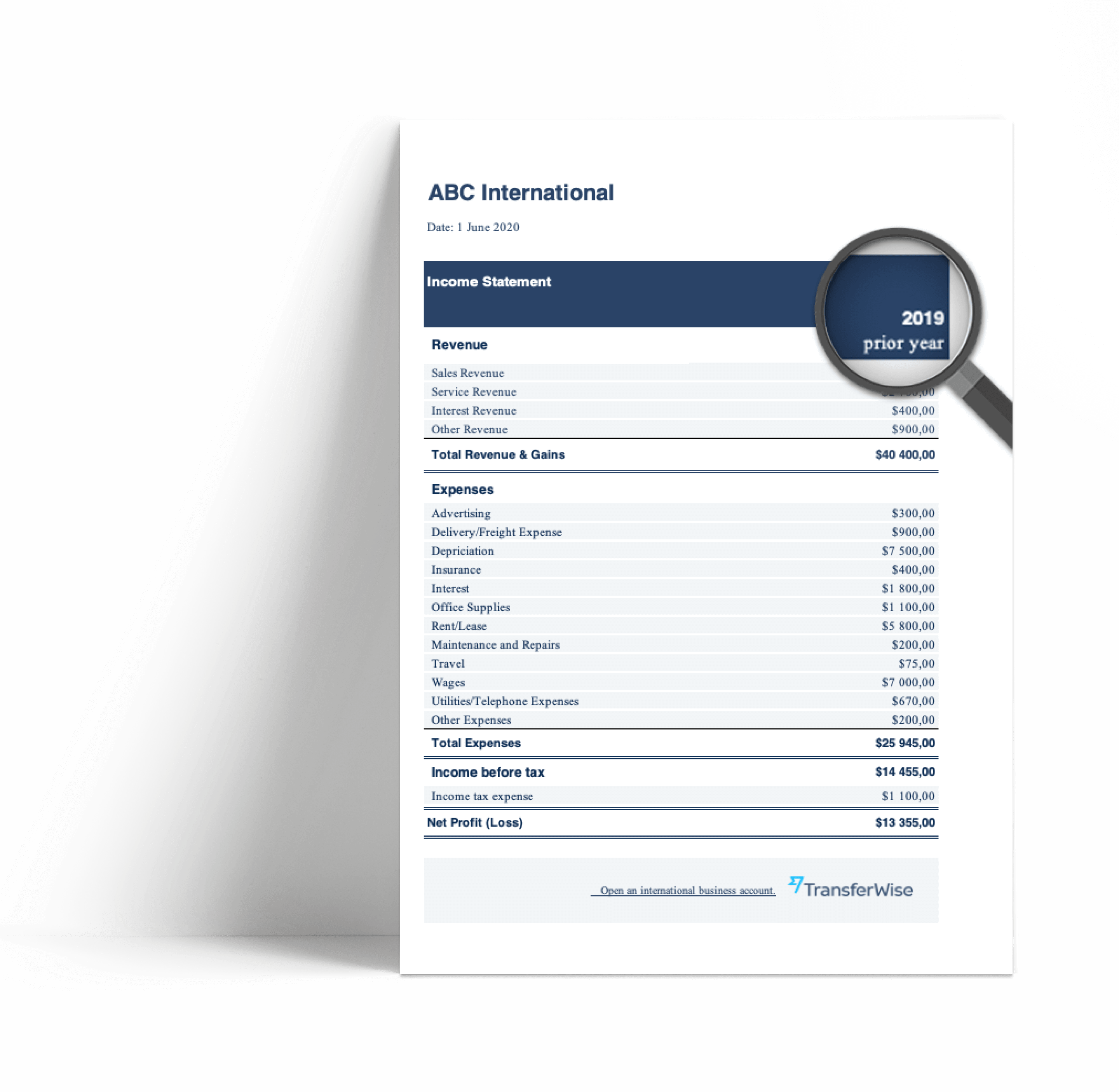 How to create the profit and loss statement template?