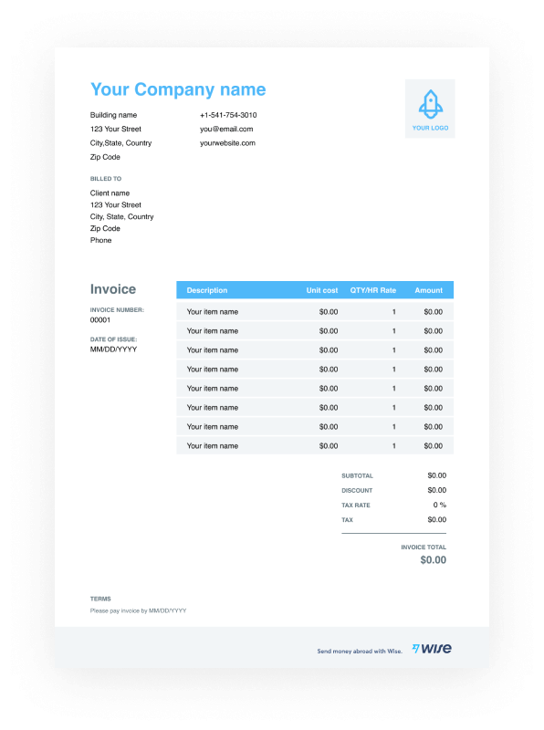Photography Services Invoice