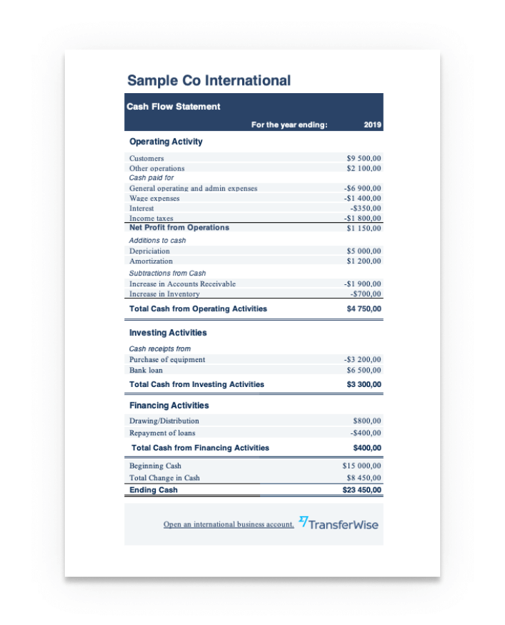 Download the cash flow statement template.