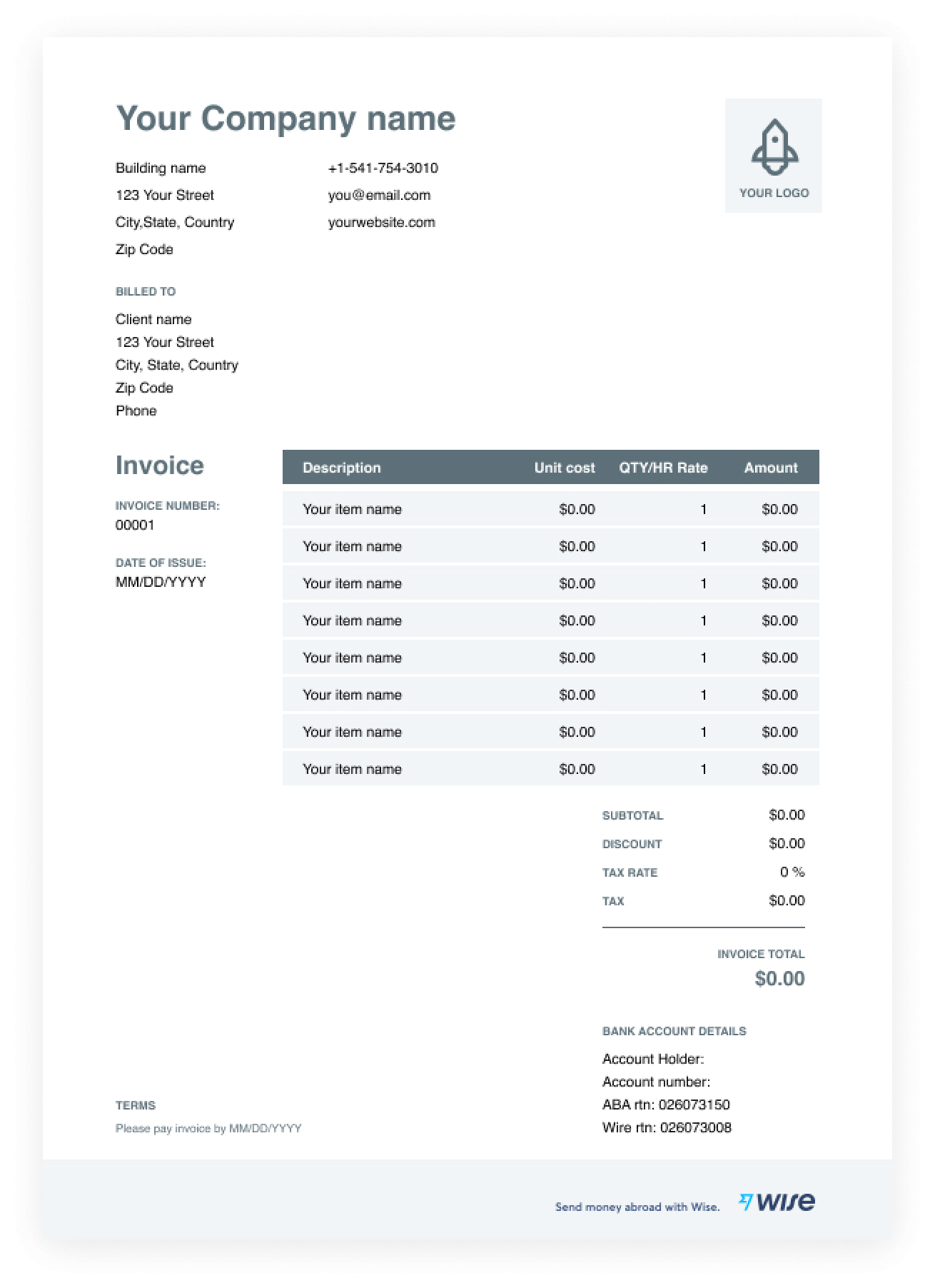 Invoice Template For Pdf Free Download Wise