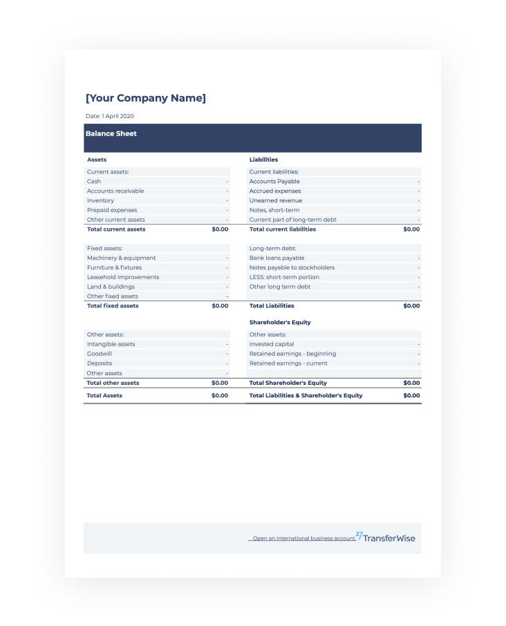 Free Balance Sheet Template Download Transferwise
