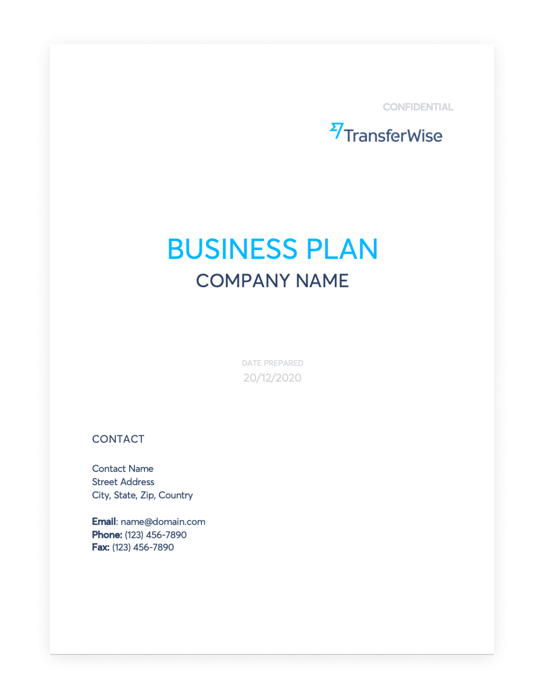 Simple business plan template.