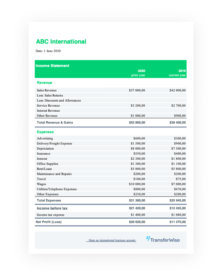 Traditional income statement