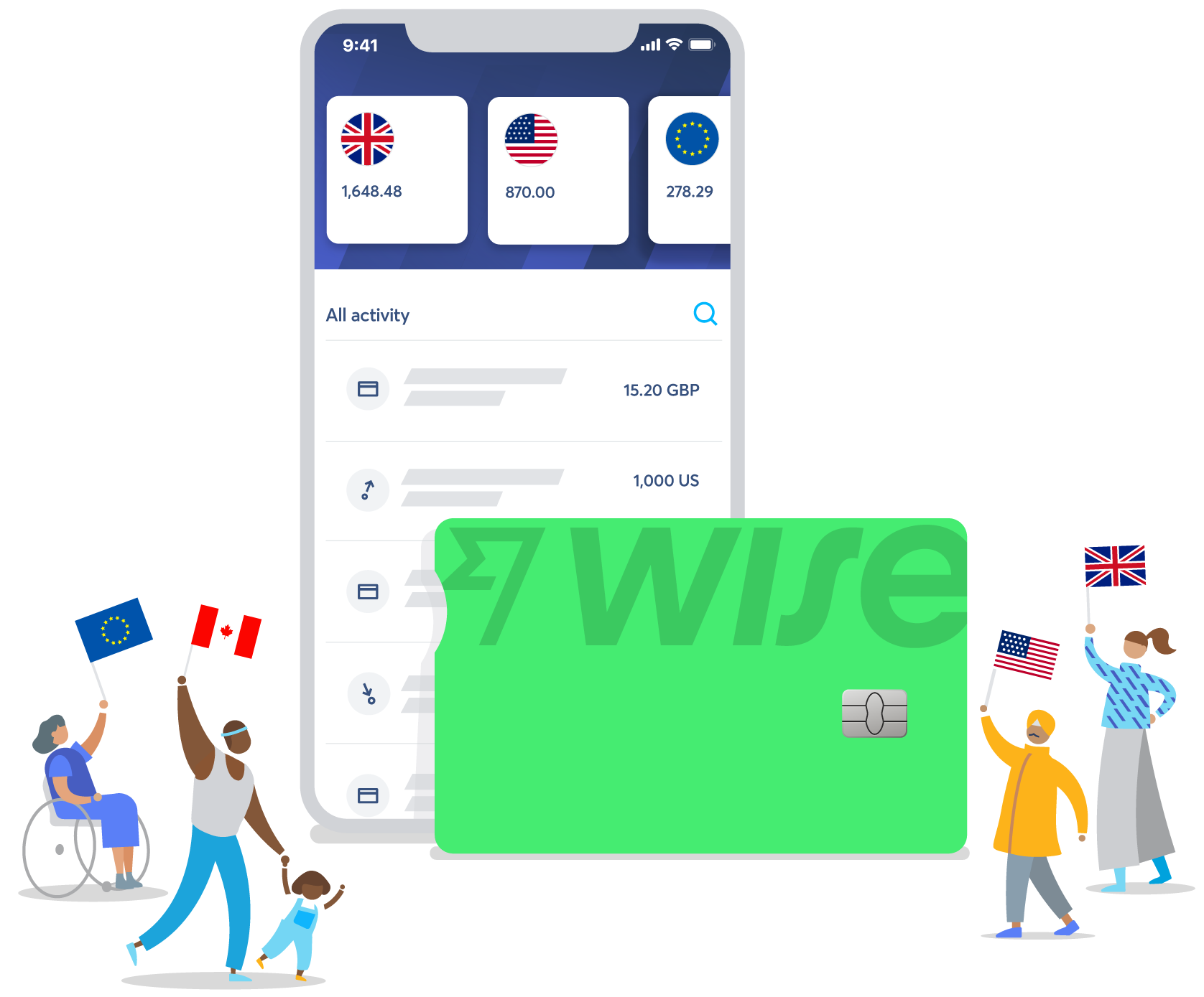 Borderless account with Wise debit card